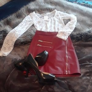 Sexy red faux leather mini skirt! NWT